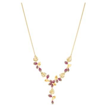 Tropical Flower Y-Halskette, rosa, vergoldet - Swarovski, 5541061