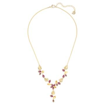 Collier en Y Tropical Flower, rose, métal doré - Swarovski, 5541061