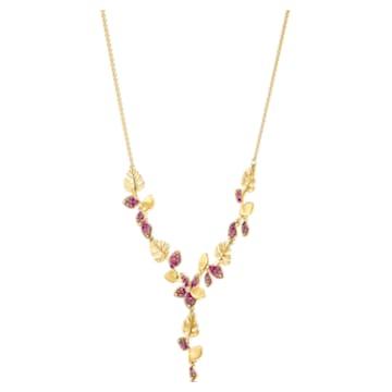 Tropical-Y-vormige bloemenketting, Roze, Goudkleurige toplaag - Swarovski, 5541061