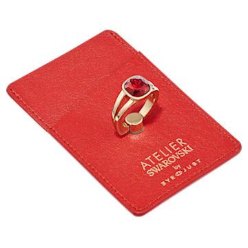 Duo porte-carte et bague de retenue EyeJust, rouge, métal doré - Swarovski, 5541904