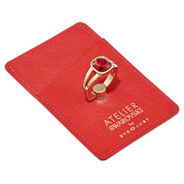 EyeJust Card and Ring Holder, Red, Gold-tone plated - Swarovski, 5541904