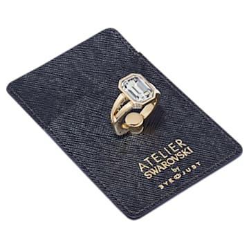 Duo porte-carte et bague de retenue EyeJust, noir, métal doré - Swarovski, 5541906