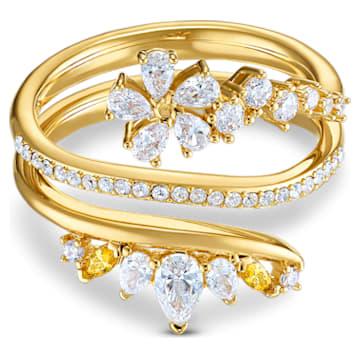 Botanical 戒指, 白色, 镀金色调 - Swarovski, 5542529