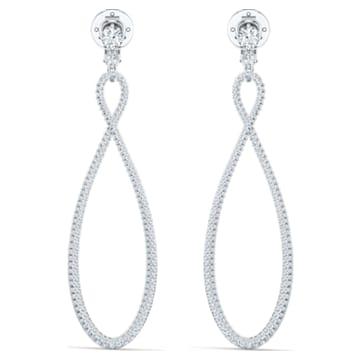 Swarovski Infinity hoop earrings, Infinity, White, Rhodium plated - Swarovski, 5543513