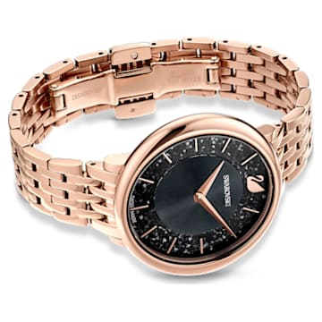Crystalline Chic 腕表, 金属手链, 黑色, 玫瑰金色调 PVD - Swarovski, 5544587