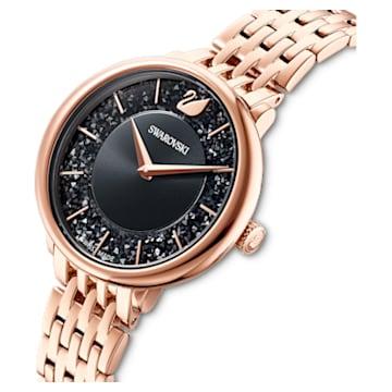 Ceas Crystalline Chic, brățară de metal, negru, nuanță aur roz aplicată prin depunere fizică de vapori - Swarovski, 5544587