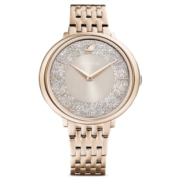 Orologio Crystalline Chic, bracciale di metallo, grigio, PVD tonalità oro champagne - Swarovski, 5547611