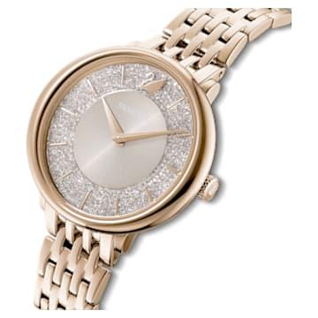 Crystalline Chic-horloge, Metalen armband, Grijs, Champagnegoudkleurig PVD - Swarovski, 5547611