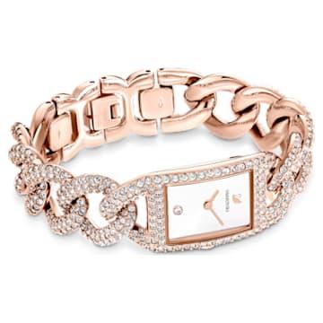 Cocktail watch, Full pavé, Metal bracelet, Rose gold tone, Rose-gold tone PVD - Swarovski, 5547614