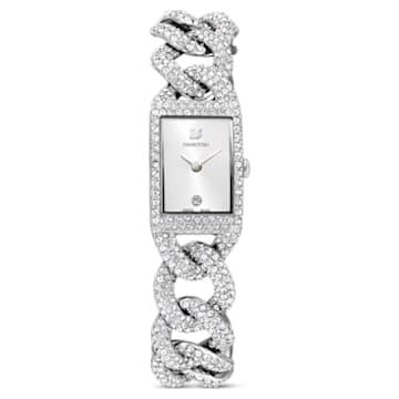 Zegarek koktajlowy, pełna oprawa pavé, bransoleta z metalu, w odcieniu srebra, stal nierdzewna - Swarovski, 5547617