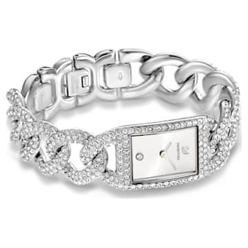Cocktail Часы, Паве по всей поверхности, Металлический браслет, Оттенок серебра, Нержавеющая сталь - Swarovski, 5547617