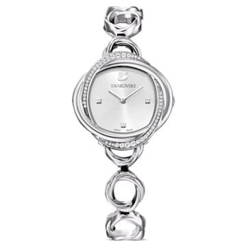 Crystal Flower 腕表, 金属手链, 银色, 不锈钢 - Swarovski, 5547622