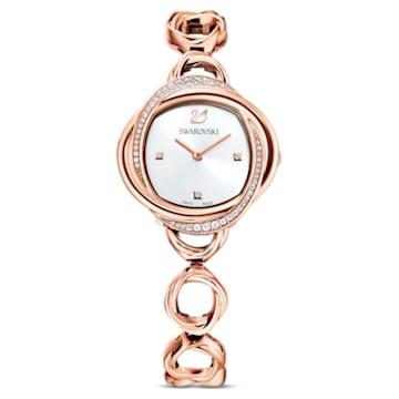 Crystal Flower Uhr, Metallarmband, Roséfarben, Roségoldfarbenes PVD-Finish - Swarovski, 5547626