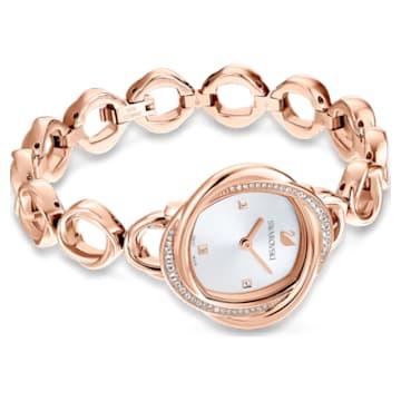 Crystal Flower-horloge, Metalen armband, Roségoudkleurig, Roségoudkleurig PVD - Swarovski, 5547626