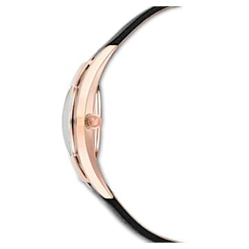 Crystalline Sporty 手錶, 真皮錶帶, 黑色, 玫瑰金色調PVD - Swarovski, 5547632