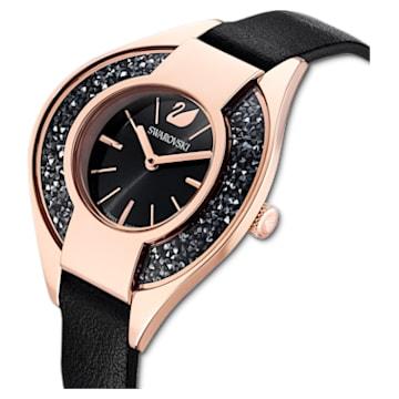 Hodinky Crystalline Sporty s koženým páskem, černé, PVD v odstínu růžového zlata - Swarovski, 5547632