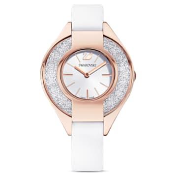 Crystalline Sporty Часы, Кожаный ремешок, Белый Кристалл, PVD-покрытие оттенка розового золота - Swarovski, 5547635
