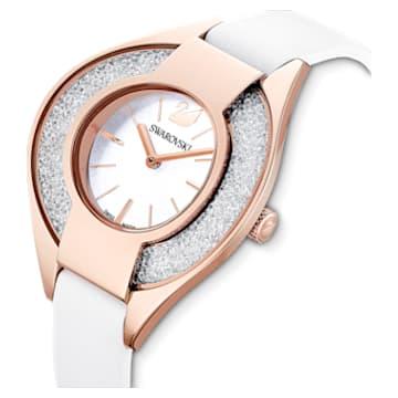 Ceas Crystalline Sporty, curea din piele, alb, nuanțe de aur roz obținute prin depunere fizică de vapori - Swarovski, 5547635