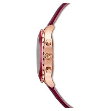 Octea Lux Chrono 腕表, 真皮表带, 红色, 玫瑰金色调 PVD - Swarovski, 5547642