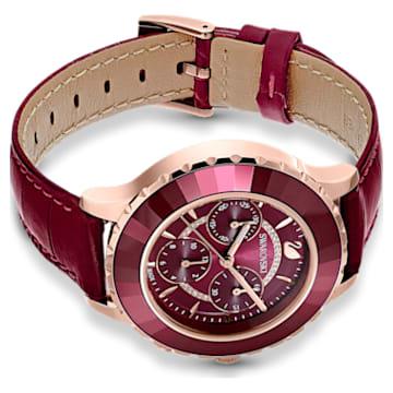 Ρολόι Octea Lux Chrono, δερμάτινο λουράκι, κόκκινο, PVD σε χρυσή-ροζ απόχρωση - Swarovski, 5547642