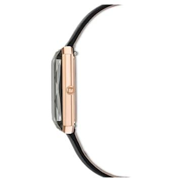Uptown 手錶, 真皮錶帶, 黑色, 玫瑰金色調PVD - Swarovski, 5547710