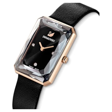 Uptown Watch, Leather strap, Black, Rose-gold tone PVD - Swarovski, 5547710