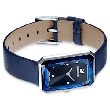Uptown Uhr, Lederarmband, blau, Edelstahl - Swarovski, 5547713