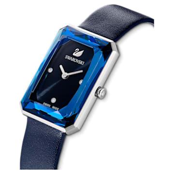 Uptown 手錶, 真皮錶帶, 藍色, 不銹鋼 - Swarovski, 5547713