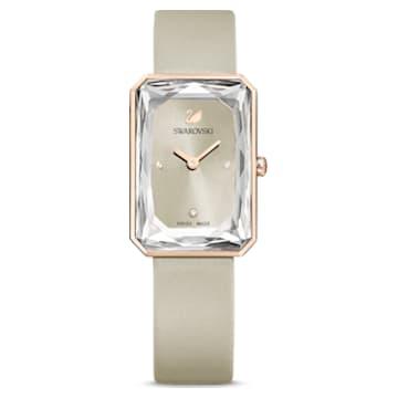 Uptown-horloge, Leren horlogebandje, Grijs, Roségoudkleurig PVD - Swarovski, 5547716