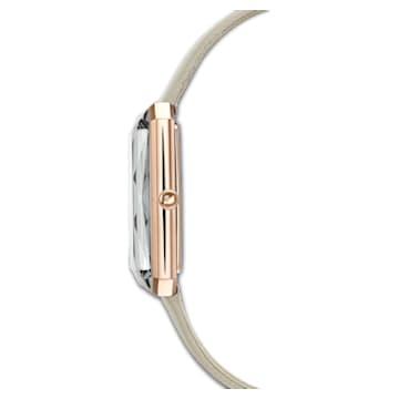 Montre Uptown, bracelet en cuir, gris, PVD doré rose - Swarovski, 5547716
