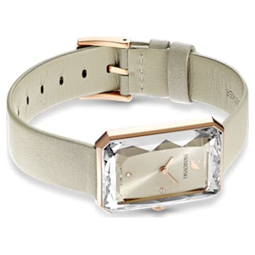 Reloj Uptown, correa de piel, gris, PVD tono oro rosa - Swarovski, 5547716