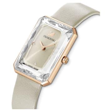 Uptown 腕表, 真皮表带, 灰色, 玫瑰金色调 PVD - Swarovski, 5547716