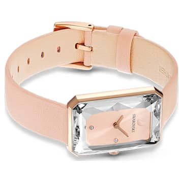 Uptown karóra, bőrszíj, rózsaszín, rozéarany árnyalatú PVD - Swarovski, 5547719