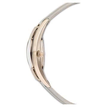 Montre Crystalline Sporty, bracelet en cuir, gris, PVD doré champagne - Swarovski, 5547976