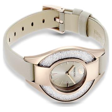 Crystalline Sporty Uhr, Lederarmband, grau, champagne vergoldetes PVD-Finish - Swarovski, 5547976