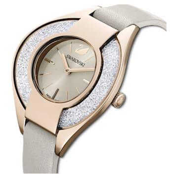 Crystalline Sporty 手錶, 真皮錶帶, 灰色, 香檳金色色調PVD - Swarovski, 5547976