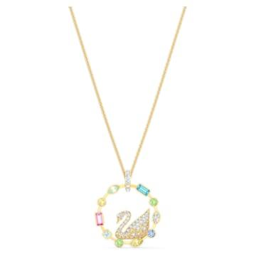Rainbow Swan Necklace, Multicolored, Gold-tone plated - Swarovski, 5549050