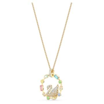 Rainbow Swan 项链, 镀金色调 - Swarovski, 5549050