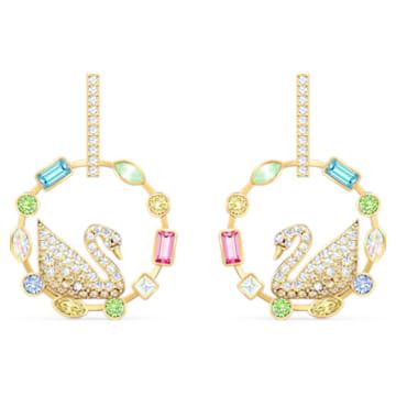 Rainbow Swan Hoop Pierced Earrings, Multicolored, Gold-tone plated - Swarovski, 5549051