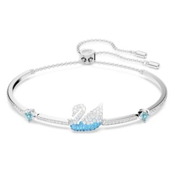 Bracelet-jonc Swarovski Iconic Swan, Cygne, Bleu, Métal rhodié - Swarovski, 5549312