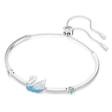 Brazalete Swarovski Iconic Swan, Cisne, Azul, Baño de rodio - Swarovski, 5549312