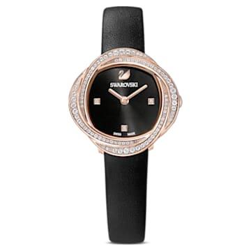 Ceas Floare de cristal, curea din piele, negru, nuanță aur roz aplicată prin depunere fizică de vapori - Swarovski, 5552421