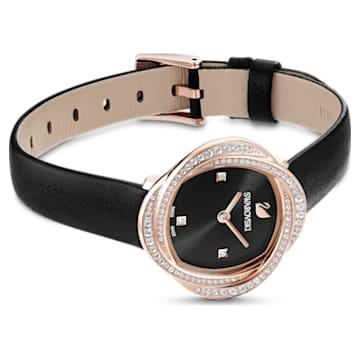 Reloj Crystal Flower, correa de piel, negro, PVD tono oro rosa - Swarovski, 5552421