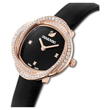 Montre Crystal Flower, bracelet en cuir, noir, PVD doré rose - Swarovski, 5552421