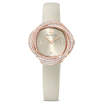 Crystal Flower Uhr, Lederarmband, grau, rosé vergoldetes PVD-Finish - Swarovski, 5552424