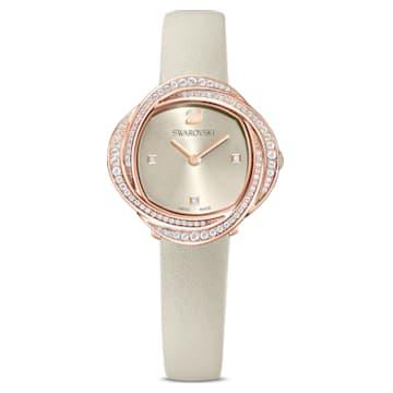Reloj Crystal Flower, correa de piel, gris, PVD tono oro rosa - Swarovski, 5552424
