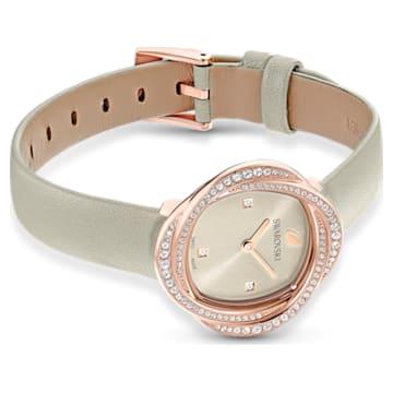 Crystal Flower óra, bőrszíj, szürke, rozéarany árnyalatú PVD - Swarovski, 5552424