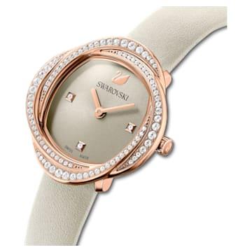 Crystal Flower watch, Leather strap, Gray, Rose -gold tone PVD - Swarovski, 5552424