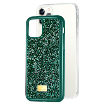 Etui na smartfona Glam Rock z ramką chroniącą przed uderzeniem, iPhone® 11 Pro Max, zielone - Swarovski, 5552654