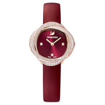 Crystal Flower karóra, bőrszíj, piros, rozéarany árnyalatú PVD - Swarovski, 5552780